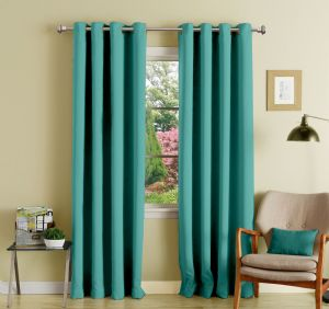 Buy Lushomes Blue Stone Polyester Blackout Curtains With 8 Eyelets For Door online