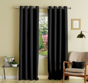 Buy Lushomes Black Polyester Blackout Curtains With 8 Eyelets For Door online