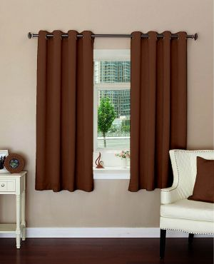 Buy Lushomes Plain Dark Brown Polyester Blackout Curtains For Windows online