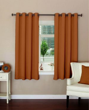 Buy Lushomes Plain Coffee Polyester Blackout Curtains For Windows online