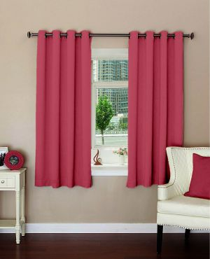 Buy Lushomes Plain Light Pink Polyester Blackout Curtains For Windows online