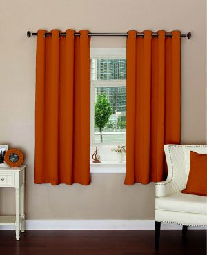 Buy Lushomes Plain Mango Polyester Blackout Curtains For Windows online