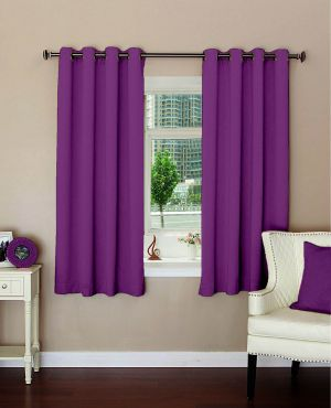 Buy Lushomes Plain Wine Polyester Blackout Curtains For Windows online