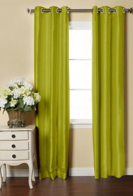 Buy Lushomes Green Dupion Silk Curtain with 6 plastic eyelets (Pack of 2 pcs) for Doors online