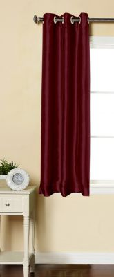 Buy Lushomes Burgundy Dupion Silk Curtain with 6 plastic eyelets (Pack of 1) for Windows online