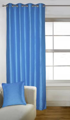 Buy Lushomes Blue Art Silk Door Curtain With Polyester Lining - Poislcnd1004 online