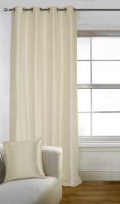 Buy Lushomes Off - White Art Silk Long Door Curtain with Polyester Lining online