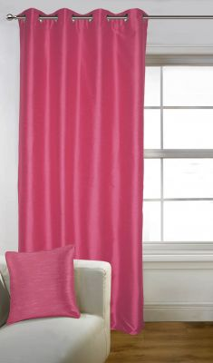 Buy Lushomes Pink Art Silk Long Door Curtain with Polyester Lining online