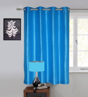 Buy Lushomes Blue Art Silk Window Curtain with Polyester Lining online