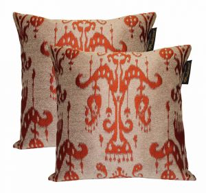 Buy Lushomes Cream & Red Polyester Jacquard Cushion Covers Pack Of 2 online