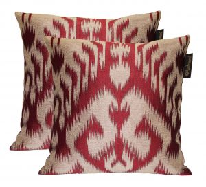 Buy Lushomes Cream & Maroon Polyester Jacquard Cushion Covers Pack Of 2 online