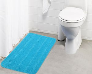 Buy Lushomes Ultra Soft Microfiber Polyester Turquoise Large Bath Mat online