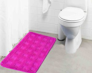 Buy Lushomes Ultra Soft Microfiber Polyester Pink Large Bath Mat online