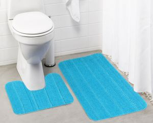 Buy Lushomes Ultra Soft Microfiber Polyester Turquoise Large Bath Mat Set online