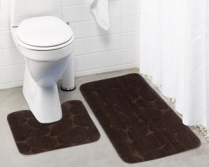 Buy Lushomes Ultra Soft Microfiber Polyester Brown Large Bath Mat Set online