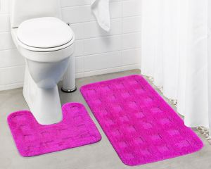 Buy Lushomes Ultra Soft Microfiber Polyester Pink Large Bath Mat Set online
