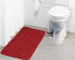 Buy Lushomes Ultra Soft Microfiber Polyester Red Regular Bath Mat online