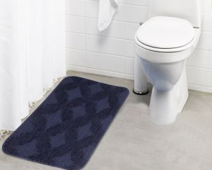 Buy Lushomes Ultra Soft Microfiber Polyester Navy Blue Regular Bath Mat online