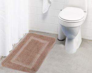 Buy Lushomes Ultra Soft Microfiber Polyester Beige Regular Bath Mat online