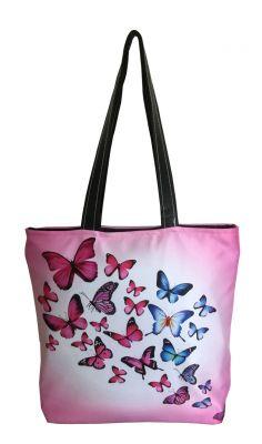 Buy Lushomes Pink Butterflies Digital Printed Polyester Tote online