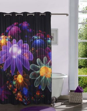 Buy Lushomes Digitally Printed Floral Flowers Shower Curtain With 10 Eyelets online