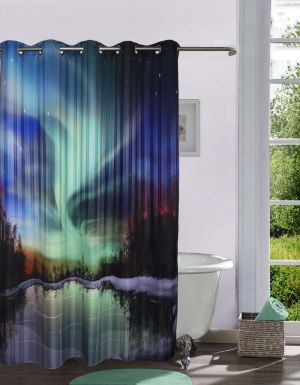 Buy Lushomes Digitally Printed Nature's Aura Shower Curtain With 10 Eyelets online