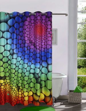 Buy Lushomes Digitally Printed Marbles Shower Curtain With 10 Eyelets online