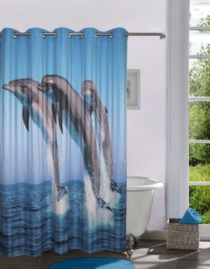 Buy Lushomes Digitally Printed Dolphins Shower Curtain With 10 Eyelets  Online