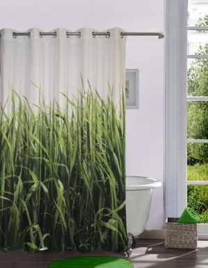 Buy Lushomes Digitally Printed Grass Shower Curtain With 10 Eyelets online