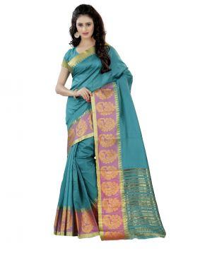 0aba7add69 Buy Wama Fashion Women's Silk Blend Jacquard Printed Saree With Blouse  (code - Tz_1133_a)