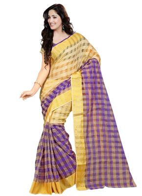 Buy Wama Fashion Cotton Silk Sari(tz_yami_purpal) online