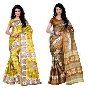 Buy Wama Fashion Set Of 2 Printed Multicolour Raw Silk Sarees (code - Combo-1003-b_1008-b) online