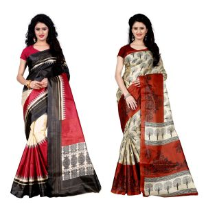 Buy Wama Fashion Set Of 2 Printed Multicolour Raw Silk Sarees (code - Combo-1003-d_1004-c) online