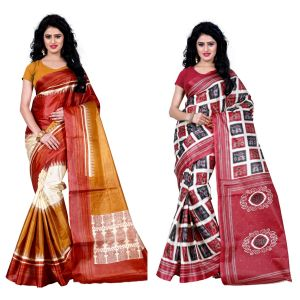 Buy Wama Fashion Set Of 2 Printed Multicolour Raw Silk Sarees (code - Combo-1003-d_1010-c) online