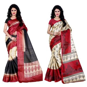 Buy Wama Fashion Set Of 2 Printed Multicolour Raw Silk Sarees (code - Combo-1004-b_1012-c) online