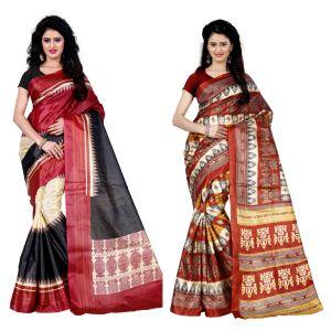 Buy Wama Fashion Set Of 2 Printed Multicolour Raw Silk Sarees (code - Combo-1004-c_1004-d) online