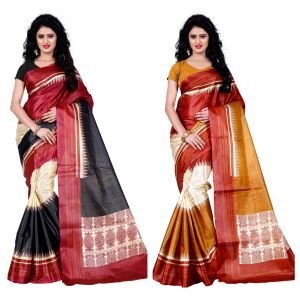 Buy Wama Fashion Set Of 2 Printed Multicolour Raw Silk Sarees (code - Combo-1004-c_1005-d) online