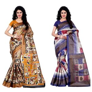 Buy Wama Fashion Set Of 2 Printed Multicolour Raw Silk Sarees (code - Combo-1004-d_1010-d) online