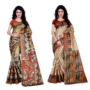 Buy Wama Fashion Set Of 2 Printed Multicolour Raw Silk Sarees (code - Combo-1005-c_1013-a) online