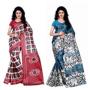 Buy Wama Fashion Set Of 2 Printed Multicolour Raw Silk Sarees (code - Combo-1008-a_1009-a) online