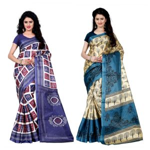 Buy Wama Fashion Set Of 2 Printed Multicolour Raw Silk Sarees (code - Combo-1008-b_1011-b) online