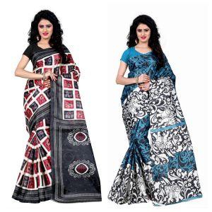 Buy Wama Fashion Set Of 2 Printed Multicolour Raw Silk Sarees (code - Combo-1008-c_1009-a) online