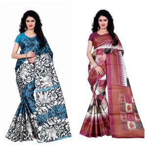 Buy Wama Fashion Set Of 2 Printed Multicolour Raw Silk Sarees (code - Combo-1009-a_1010-c) online