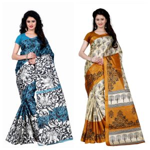 Buy Wama Fashion Set Of 2 Printed Multicolour Raw Silk Sarees (code - Combo-1009-a_1011-d) online