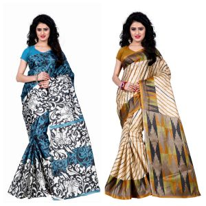 Buy Wama Fashion Set Of 2 Printed Multicolour Raw Silk Sarees (code - Combo-1009-a_1013-c) online