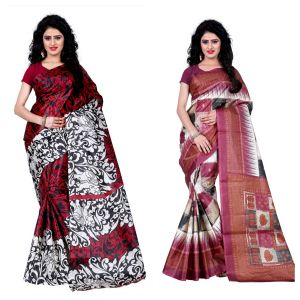 Buy Wama Fashion Set Of 2 Printed Multicolour Raw Silk Sarees (code - Combo-1009-b_1010-c) online