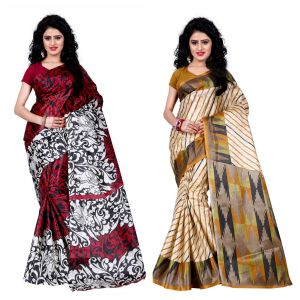 Buy Wama Fashion Set Of 2 Printed Multicolour Raw Silk Sarees (code - Combo-1009-b_1013-c) online