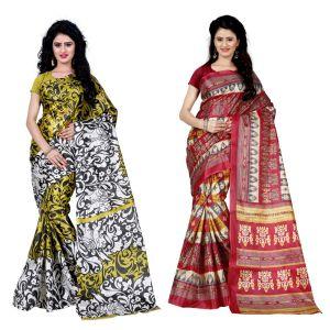 Buy Wama Fashion Set Of 2 Printed Multicolour Raw Silk Sarees (code - Combo-1009-d_1012-b) online