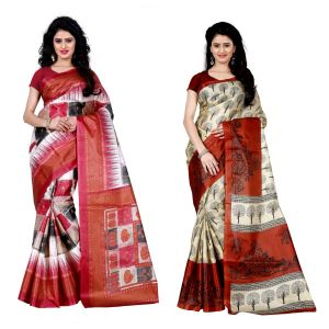 Buy Wama Fashion Set Of 2 Printed Multicolour Raw Silk Sarees (code - Combo-1010-a_1011-c) online
