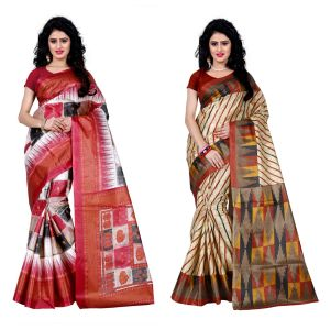 Buy Wama Fashion Set Of 2 Printed Multicolour Raw Silk Sarees (code - Combo-1010-a_1013-a) online